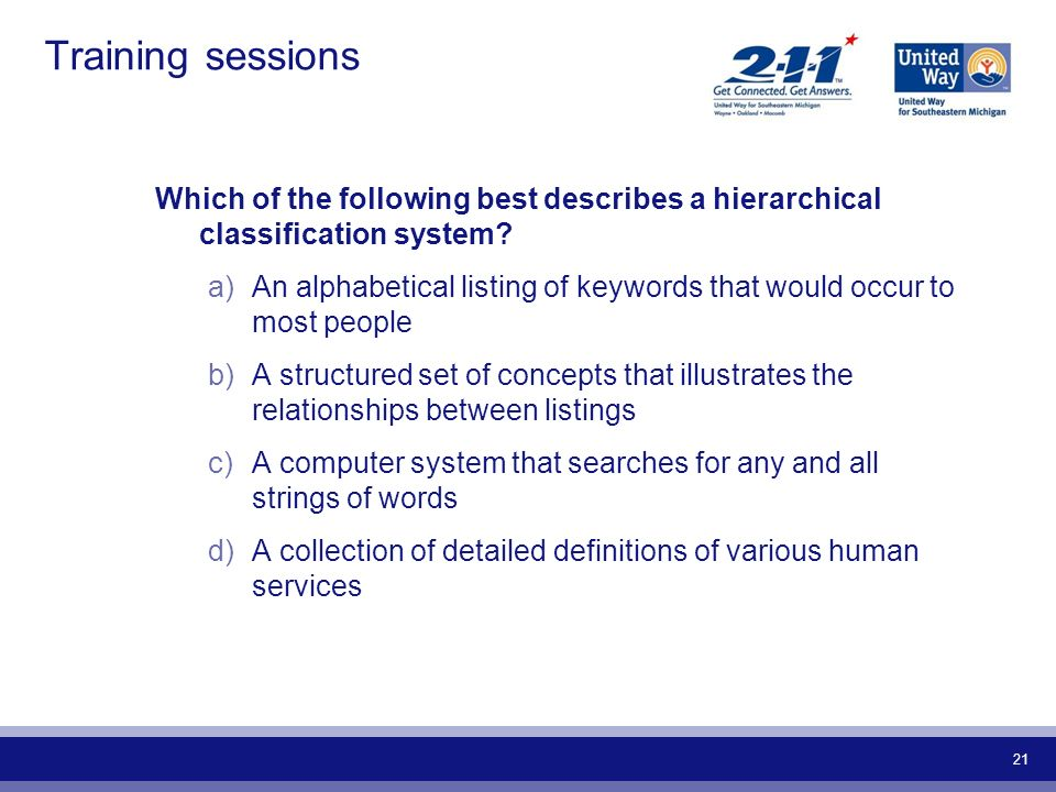 Training sessions Which of the following best describes a hierarchical classification system