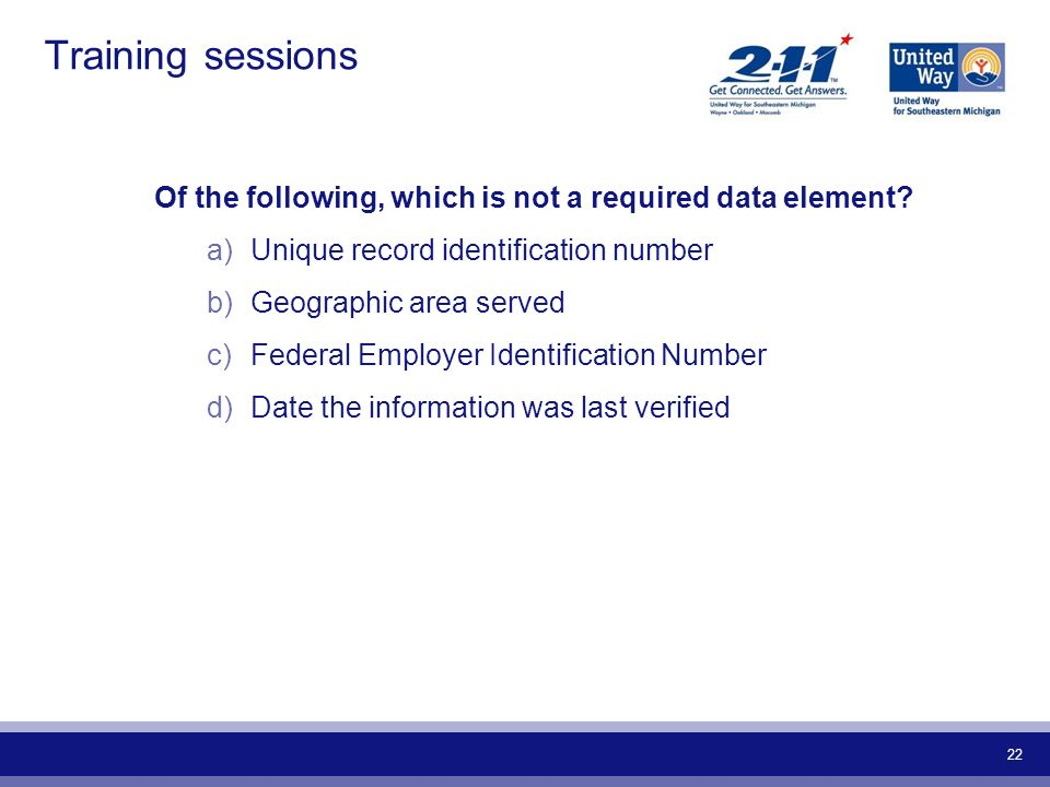 Training sessions Of the following, which is not a required data element Unique record identification number.