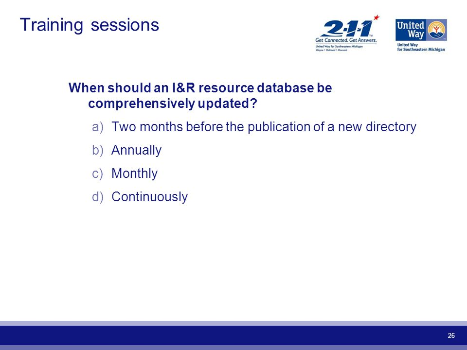 Training sessions When should an I&R resource database be comprehensively updated Two months before the publication of a new directory.