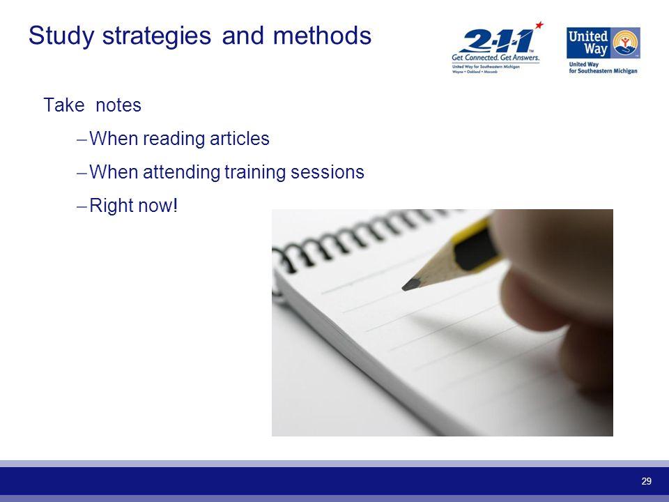 Study strategies and methods