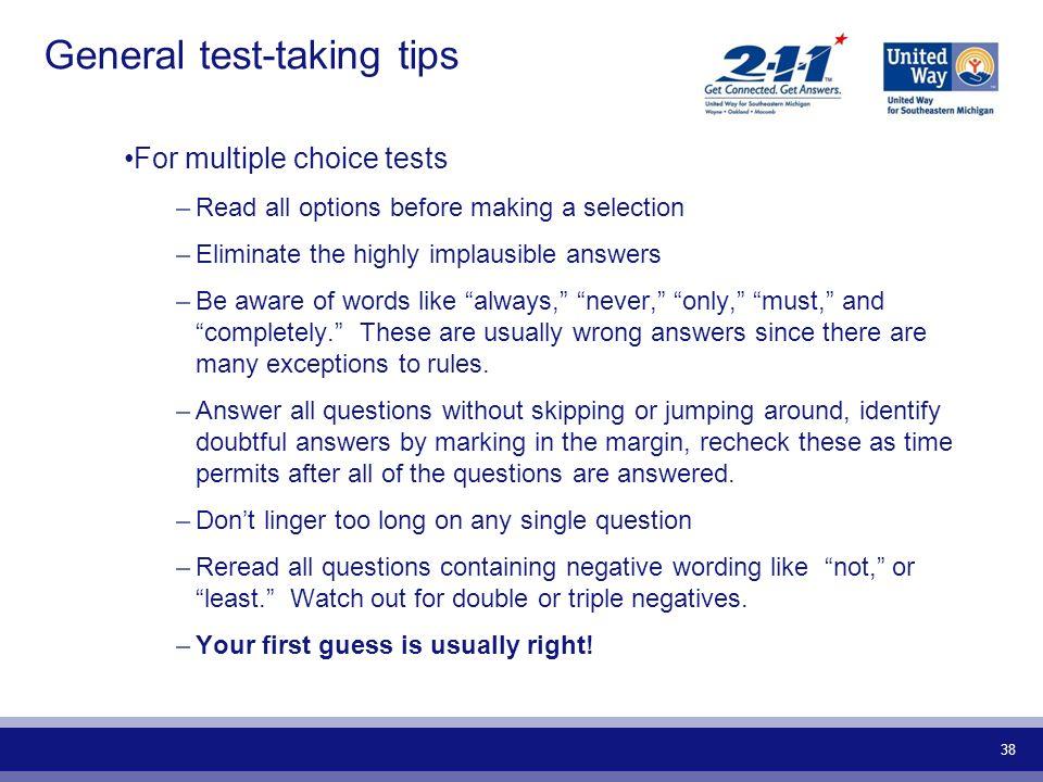 General test-taking tips
