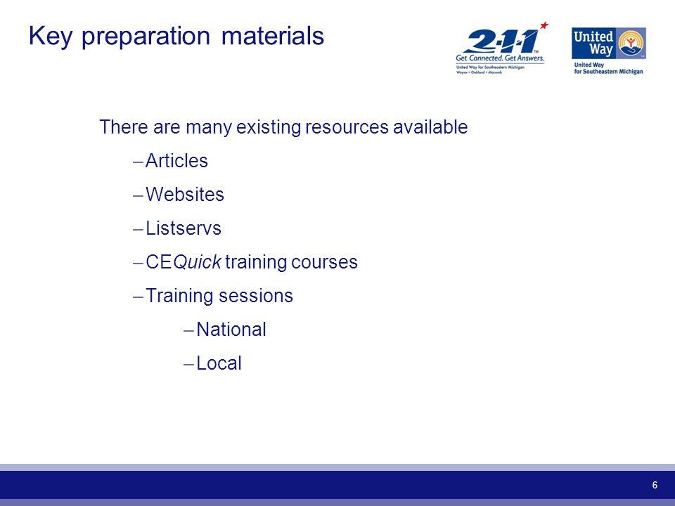 Key preparation materials