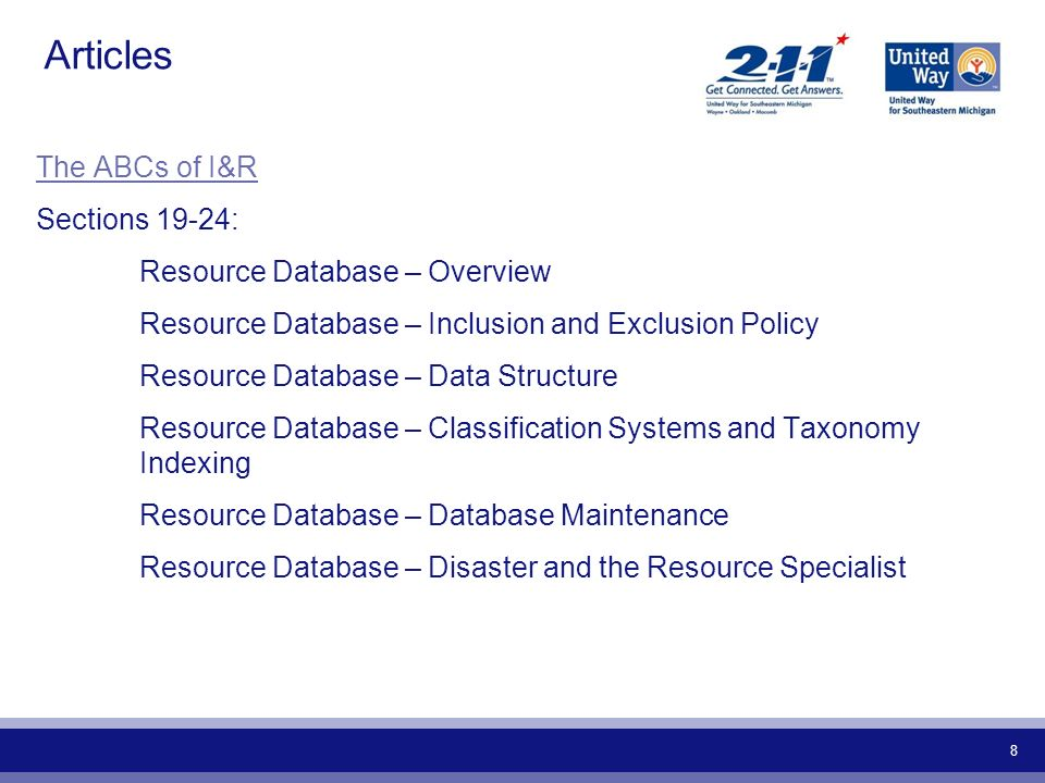 Articles The ABCs of I&R Sections 19-24: Resource Database – Overview