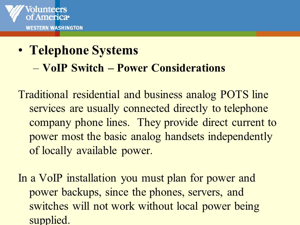 Telephone Systems VoIP Switch – Power Considerations