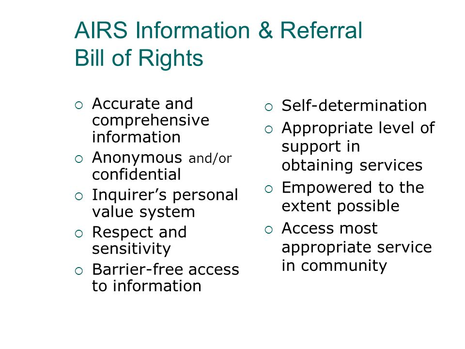 AIRS Information & Referral Bill of Rights