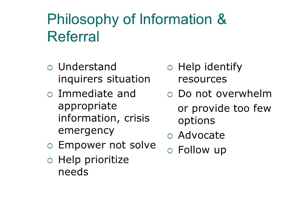 Philosophy of Information & Referral
