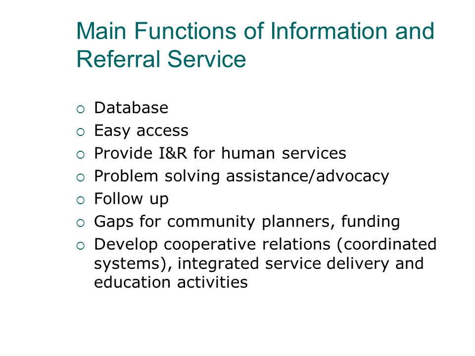 Main Functions of Information and Referral Service