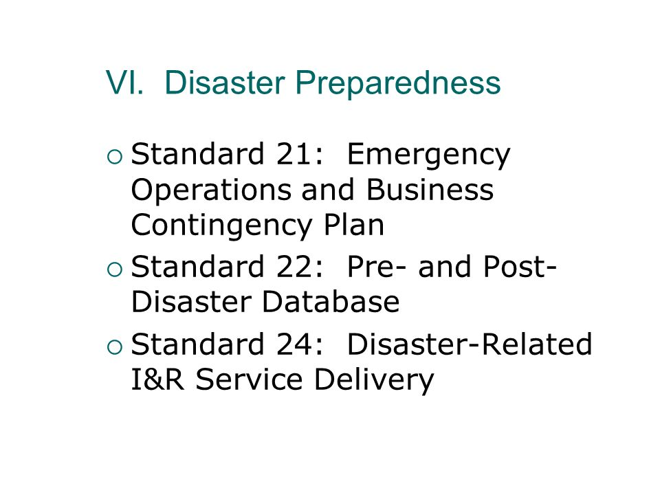 VI. Disaster Preparedness