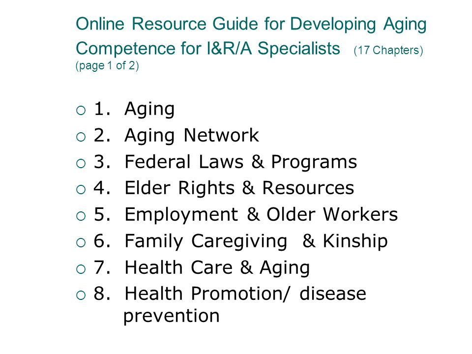 3. Federal Laws & Programs 4. Elder Rights & Resources