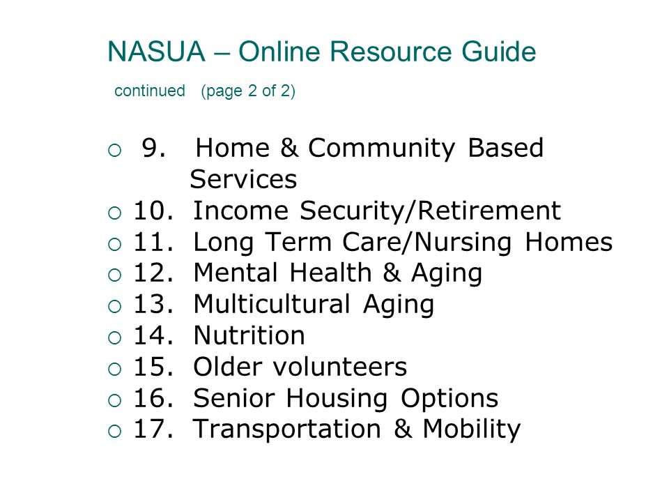 NASUA – Online Resource Guide continued (page 2 of 2)