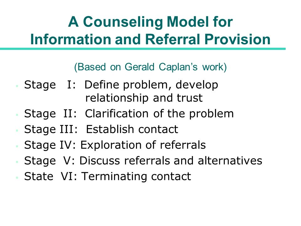 A Counseling Model for Information and Referral Provision