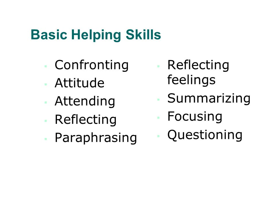 Basic Helping Skills Confronting Attitude Attending Reflecting