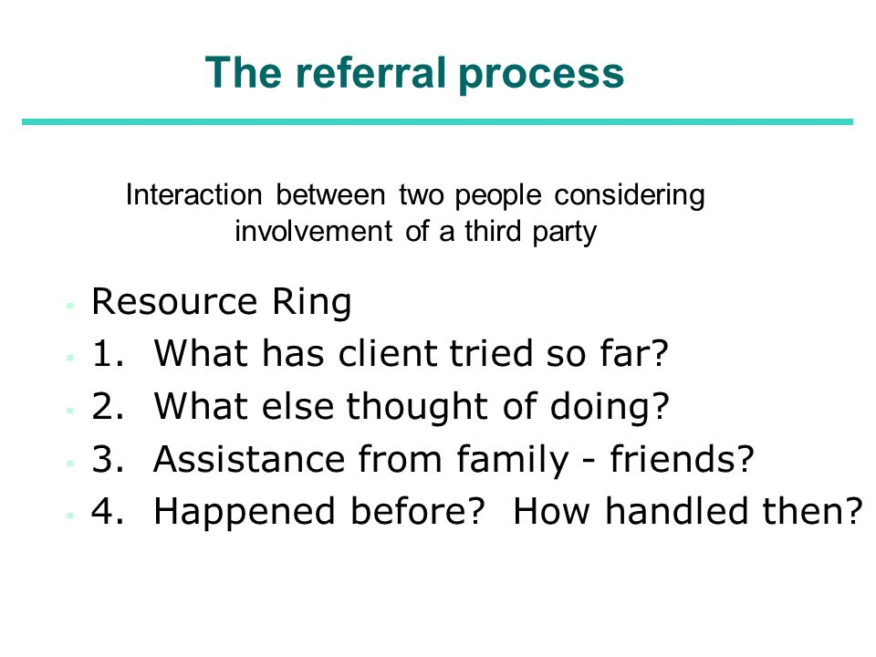 The referral process Resource Ring 1. What has client tried so far
