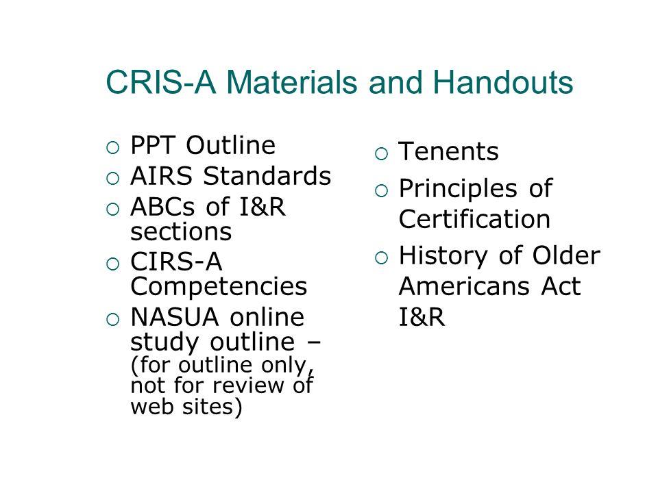 CRIS-A Materials and Handouts