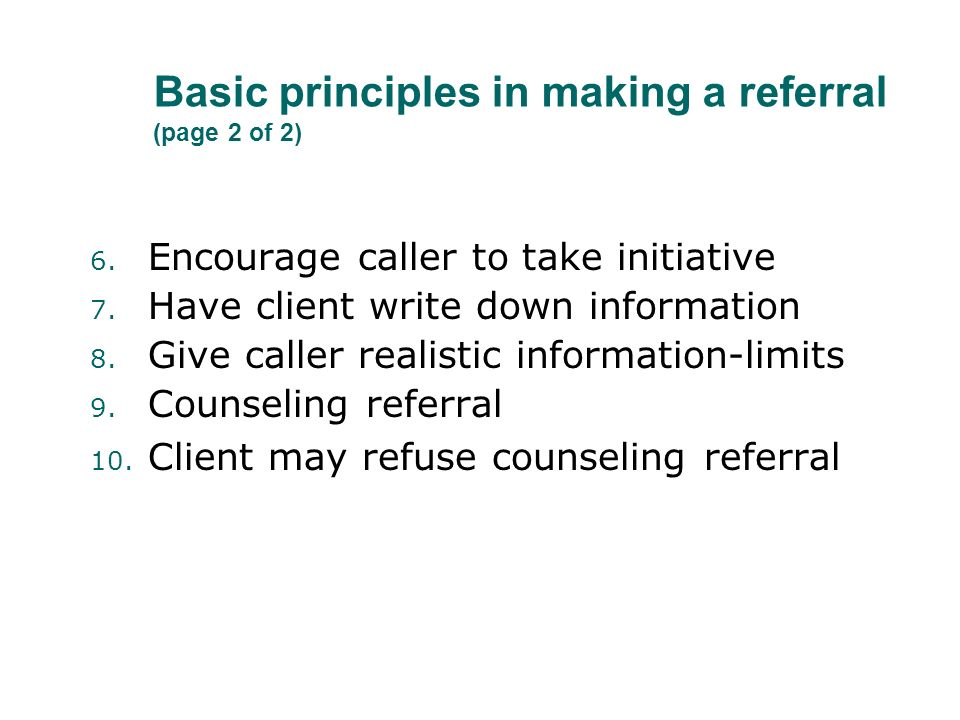 Basic principles in making a referral (page 2 of 2)
