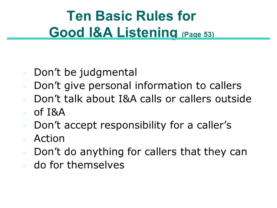 Ten Basic Rules for Good I&A Listening (Page 53)