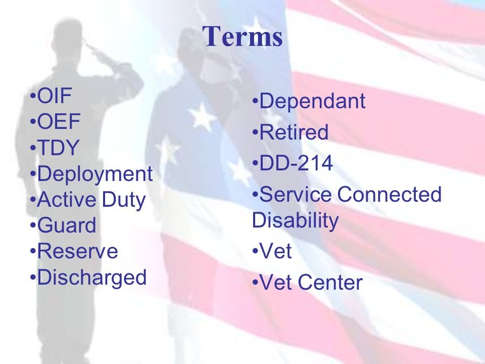Terms OIF OEF TDY Deployment Active Duty Guard Reserve Discharged