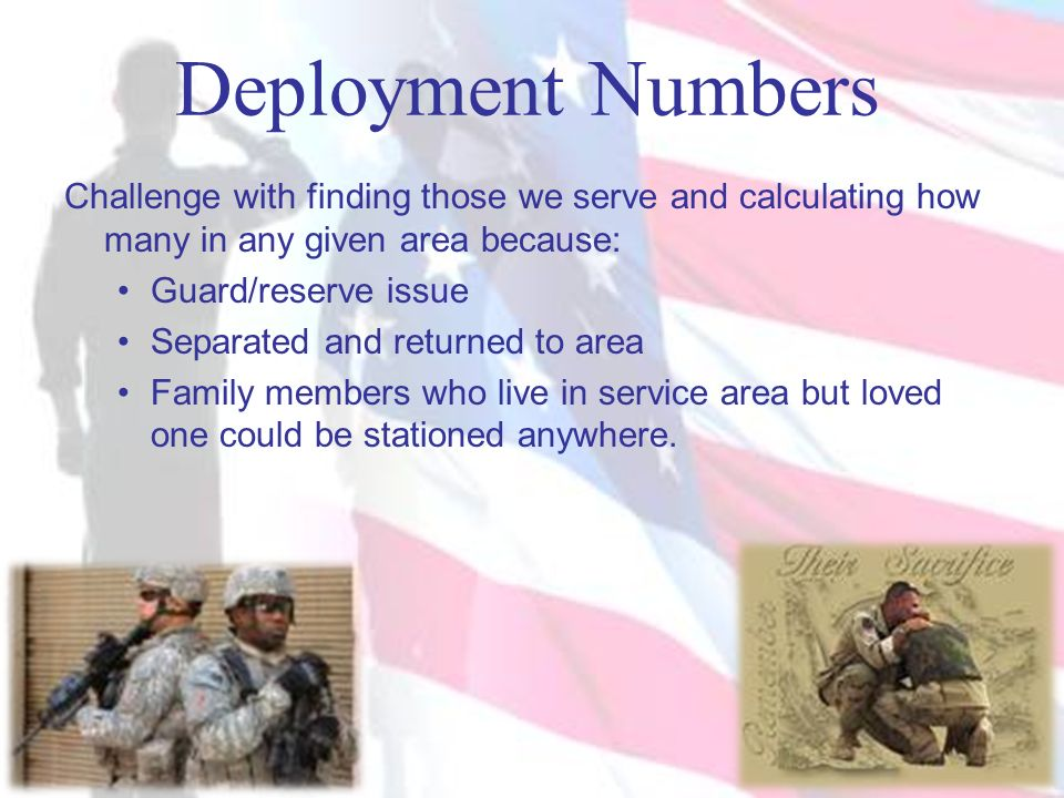 Deployment Numbers Challenge with finding those we serve and calculating how many in any given area because:
