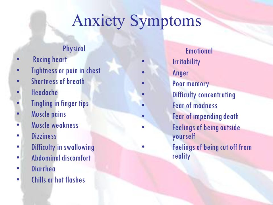 Anxiety Symptoms Physical Emotional Racing heart Irritability