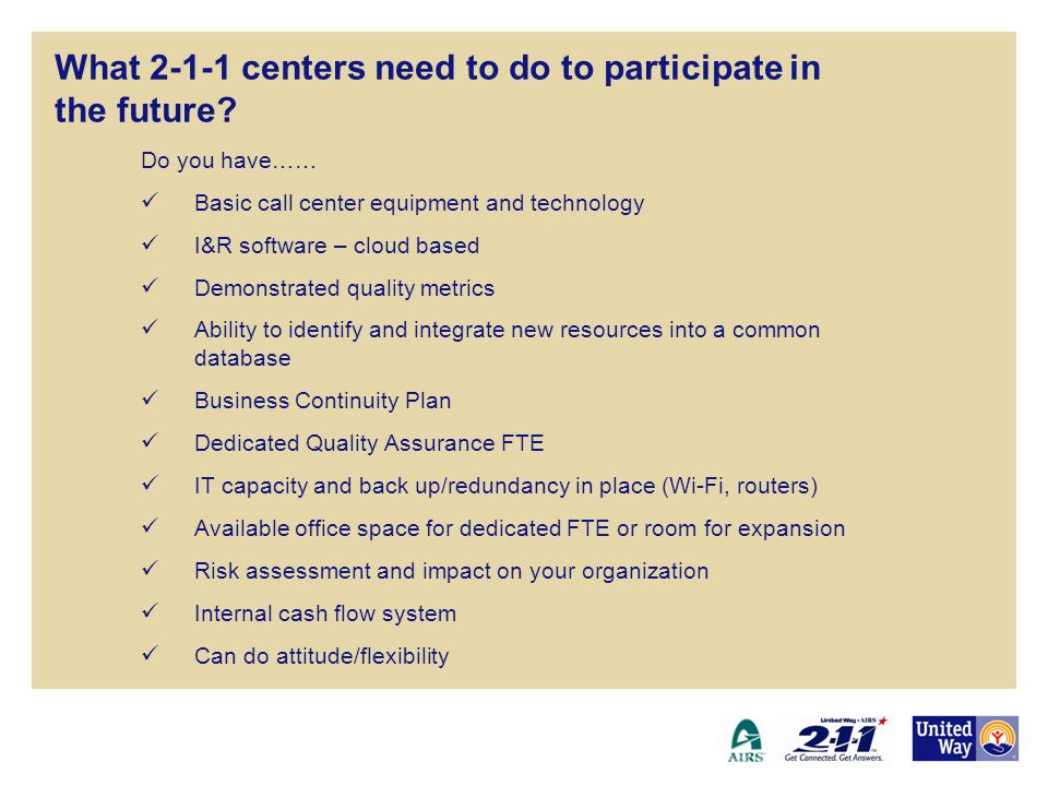 What 2-1-1 centers need to do to participate in the future