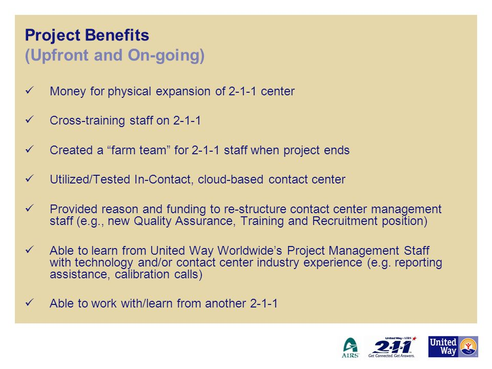 Project Benefits (Upfront and On-going)