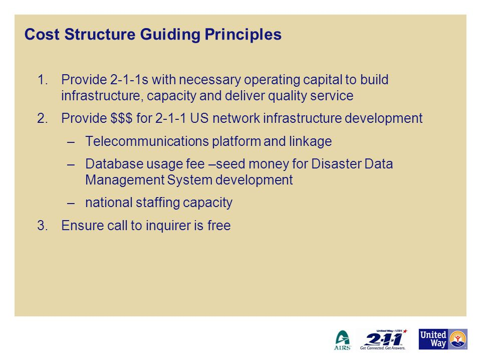 Cost Structure Guiding Principles