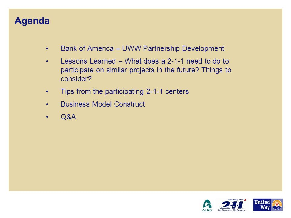 Agenda Bank of America – UWW Partnership Development