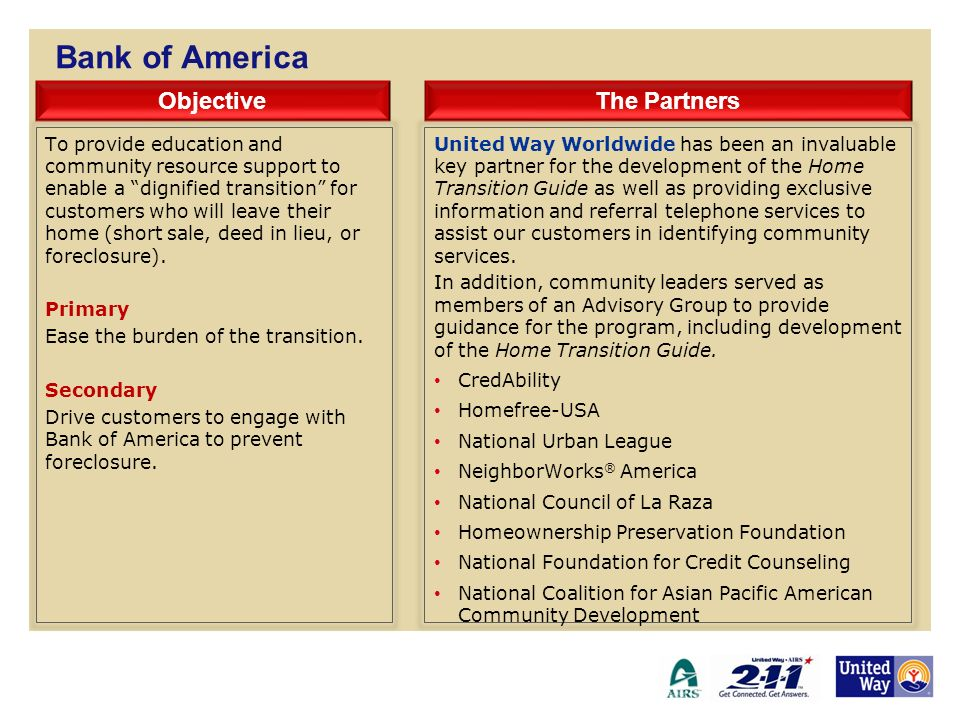 Bank of America Objective The Partners