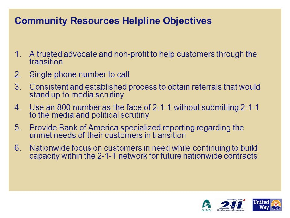 Community Resources Helpline Objectives