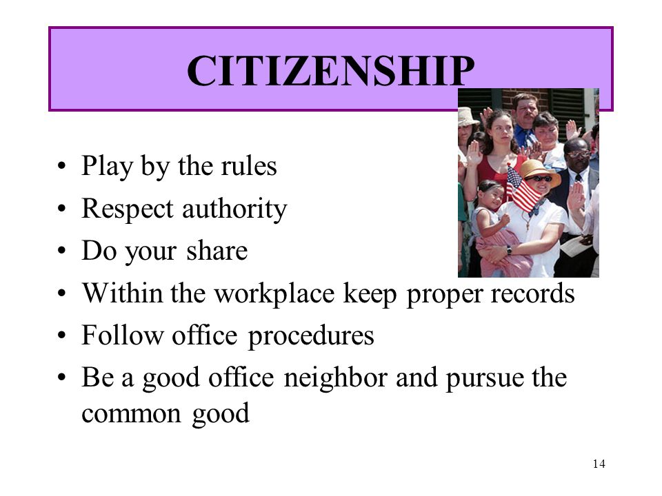 CITIZENSHIP Play by the rules Respect authority Do your share