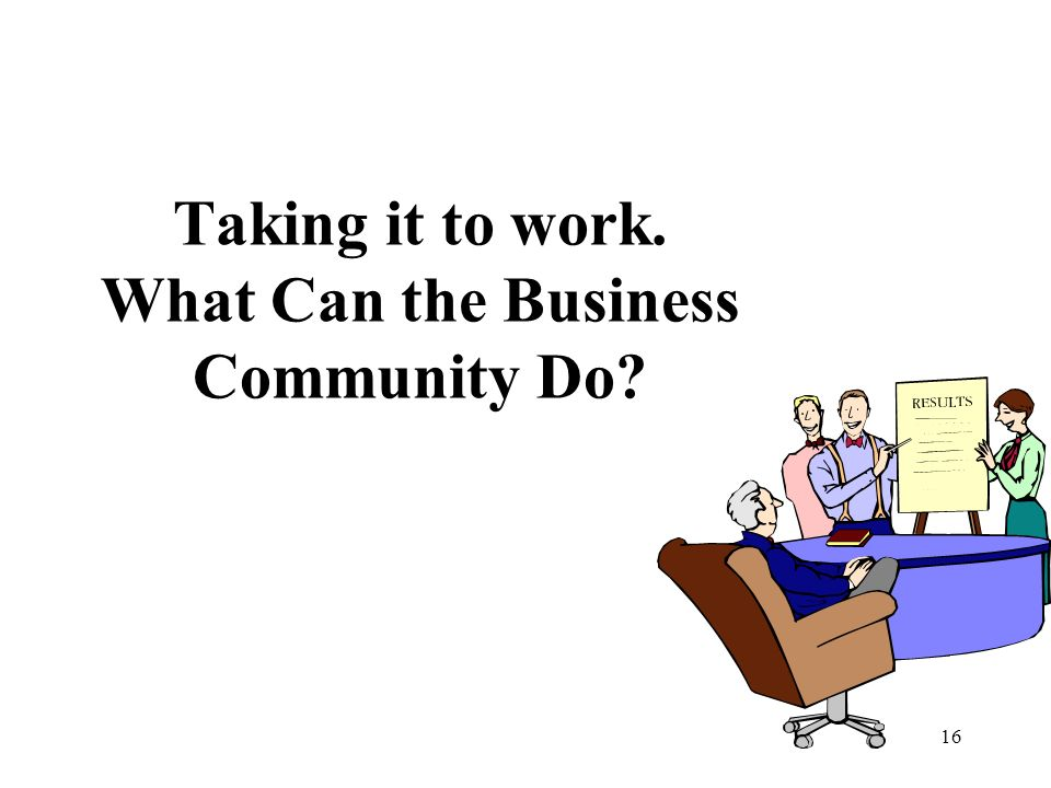 Taking it to work. What Can the Business Community Do