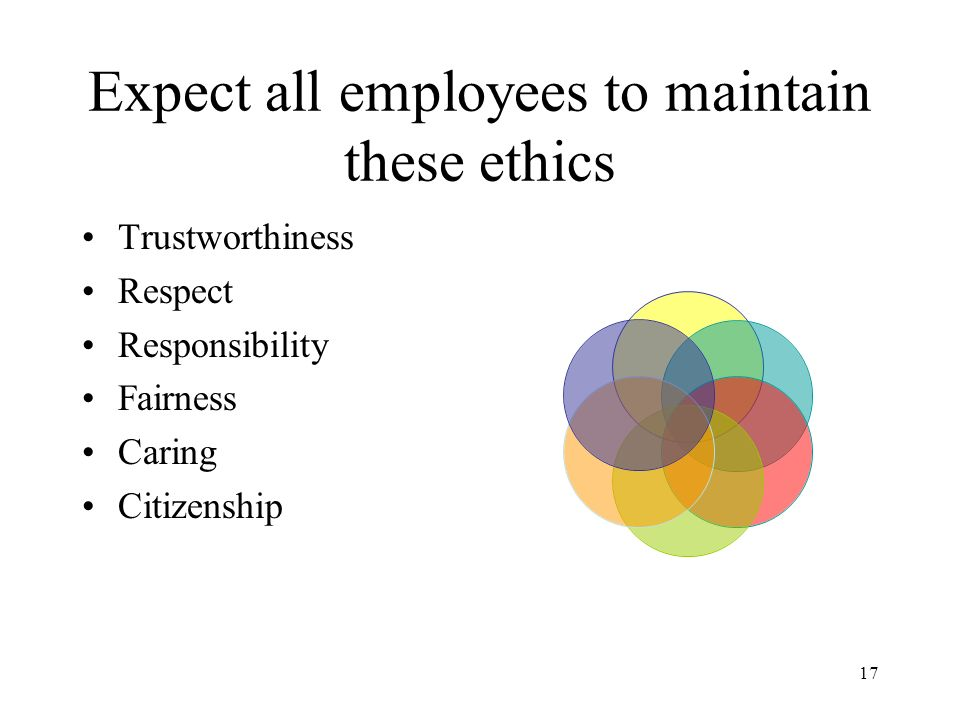 Expect all employees to maintain these ethics