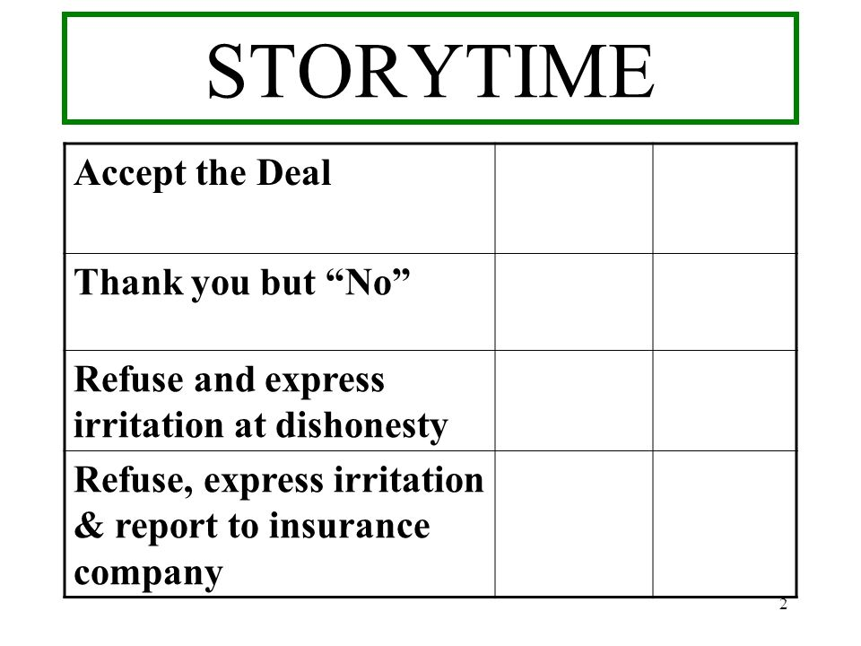 STORYTIME Accept the Deal Thank you but No