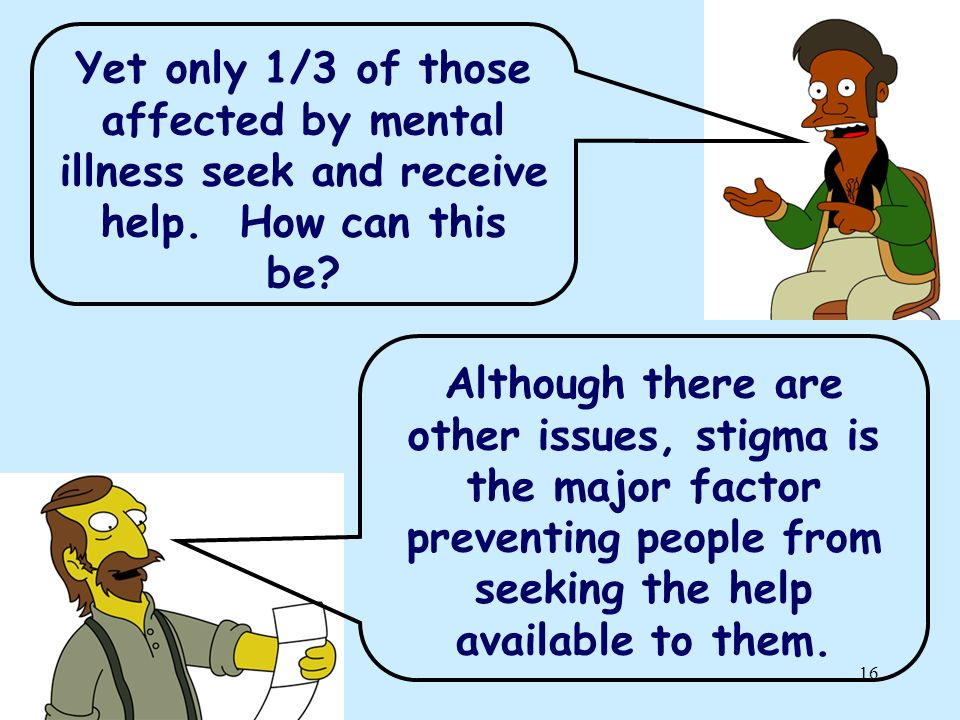 Yet only 1/3 of those affected by mental illness seek and receive help