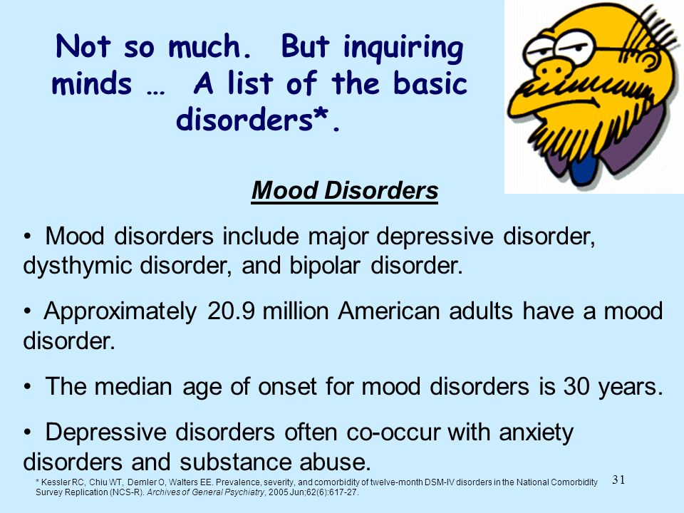 Not so much. But inquiring minds … A list of the basic disorders*.