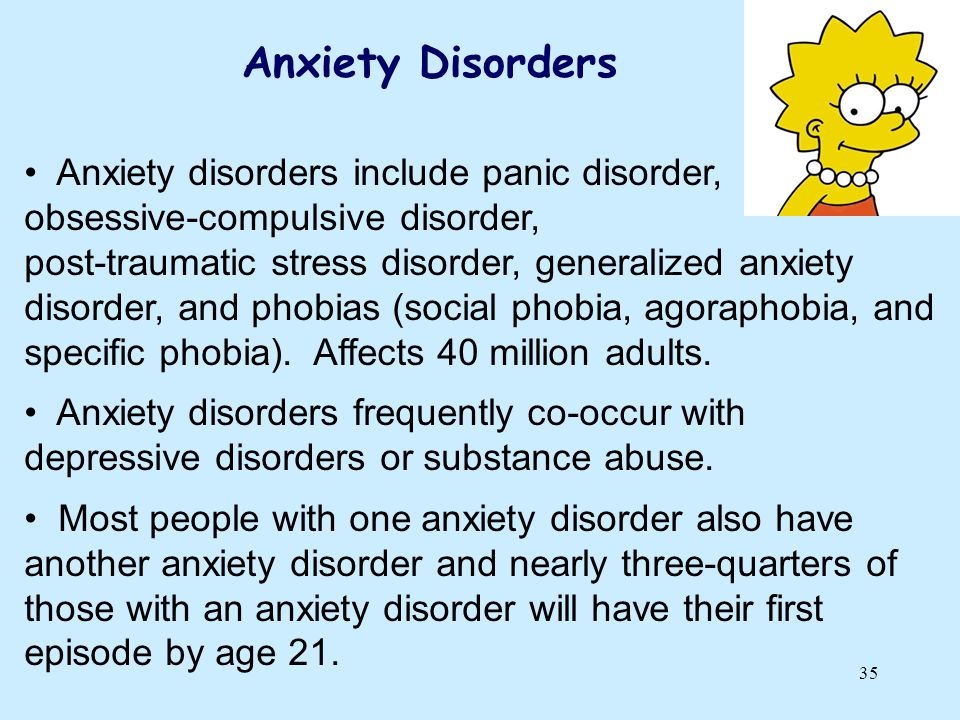 Anxiety Disorders Anxiety disorders include panic disorder,