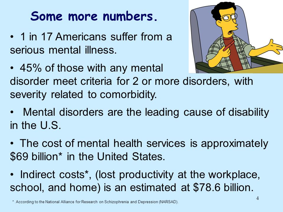 Some more numbers. 1 in 17 Americans suffer from a
