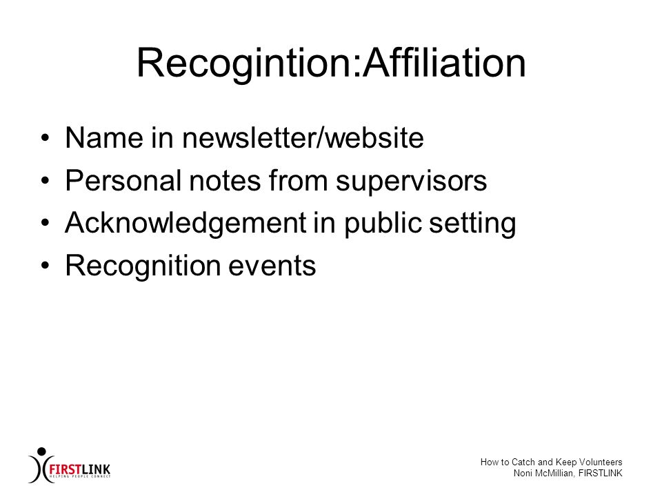 Recogintion:Affiliation