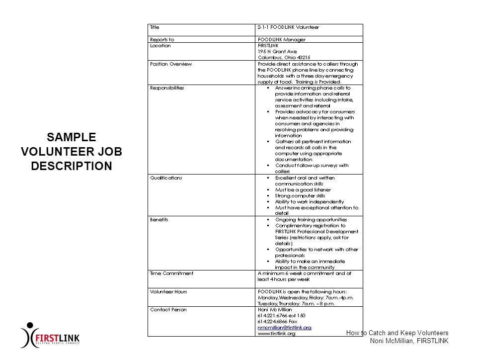 SAMPLE VOLUNTEER JOB DESCRIPTION