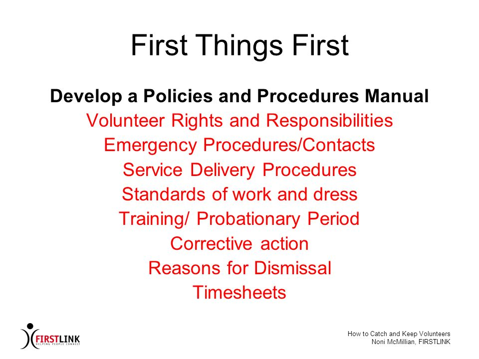 Develop a Policies and Procedures Manual