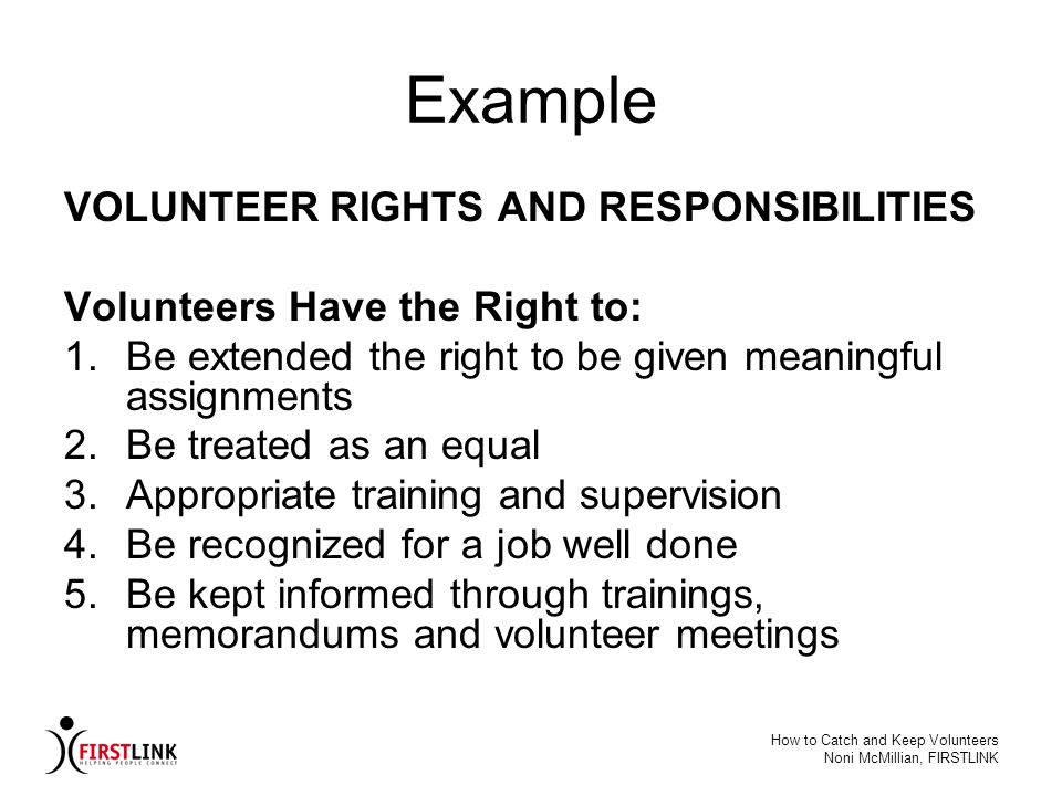 Example VOLUNTEER RIGHTS AND RESPONSIBILITIES