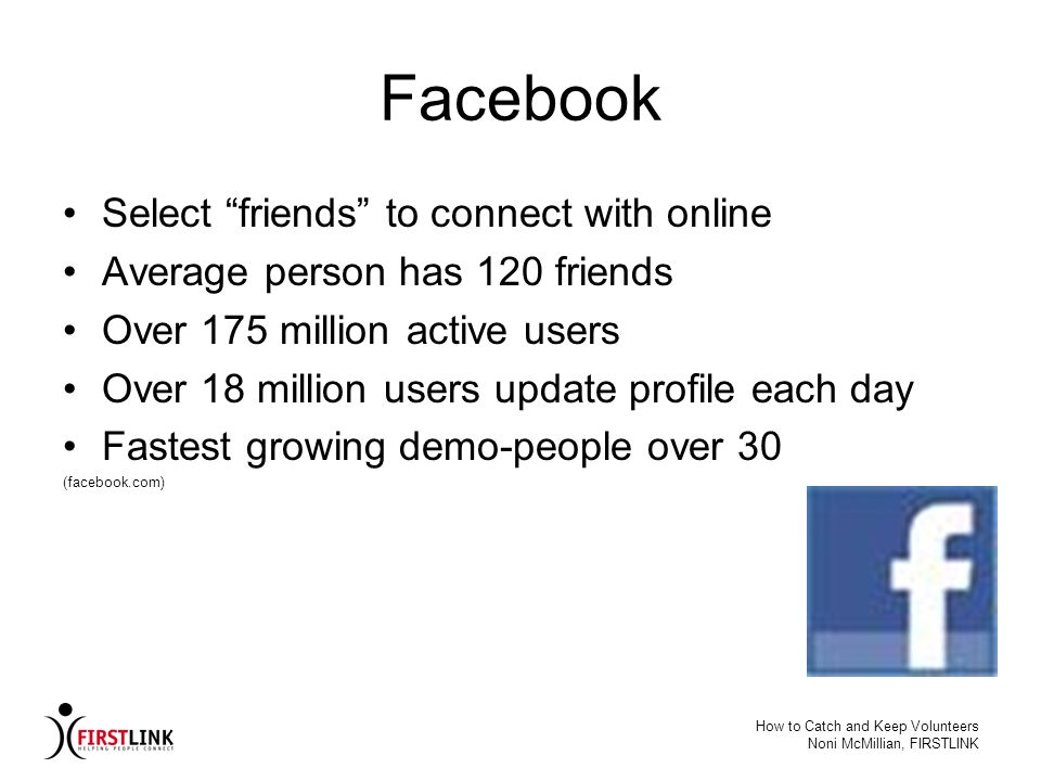 Facebook Select friends to connect with online