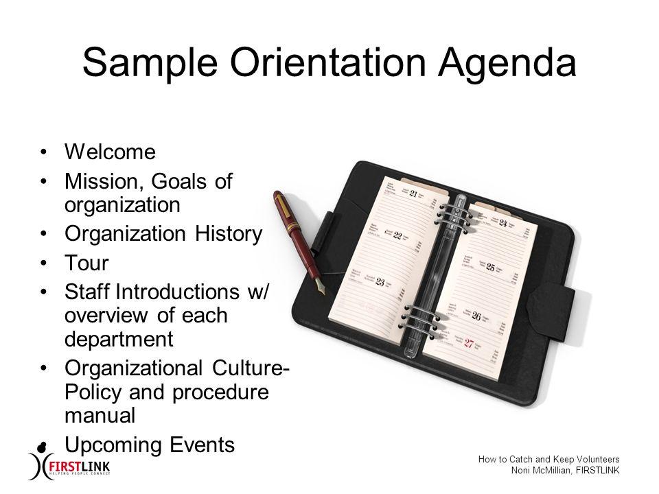 Sample Orientation Agenda