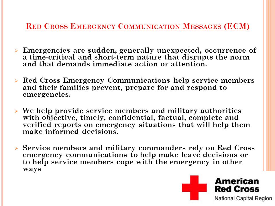 Red Cross Emergency Communication Messages (ECM)