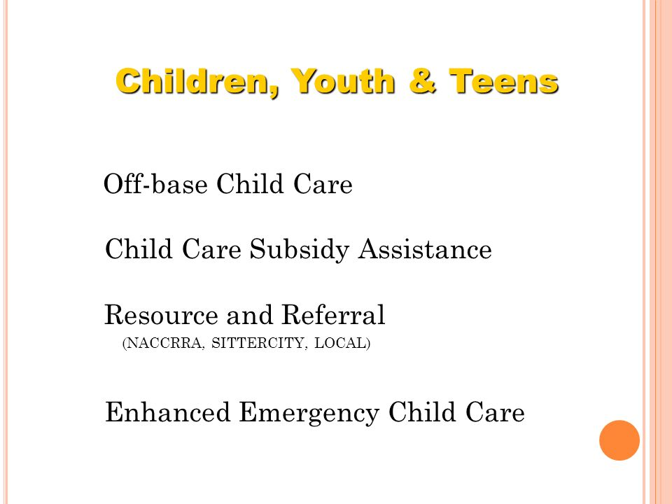 Children, Youth & Teens Child Care Subsidy Assistance