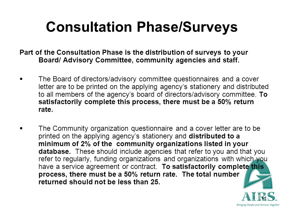 Consultation Phase/Surveys