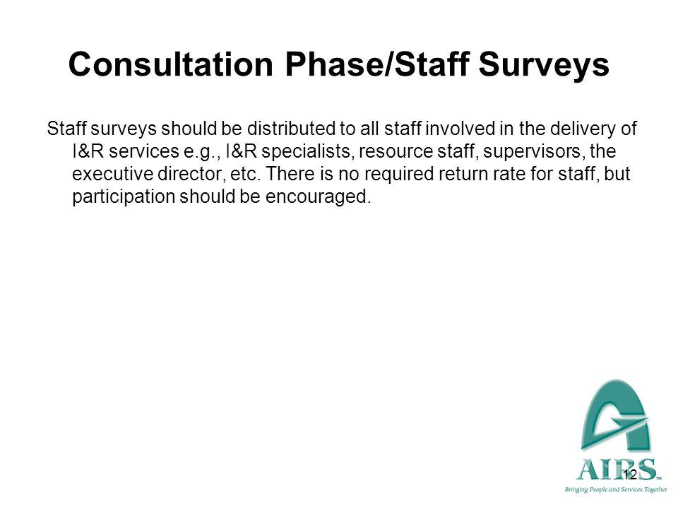 Consultation Phase/Staff Surveys