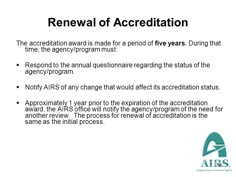 Renewal of Accreditation