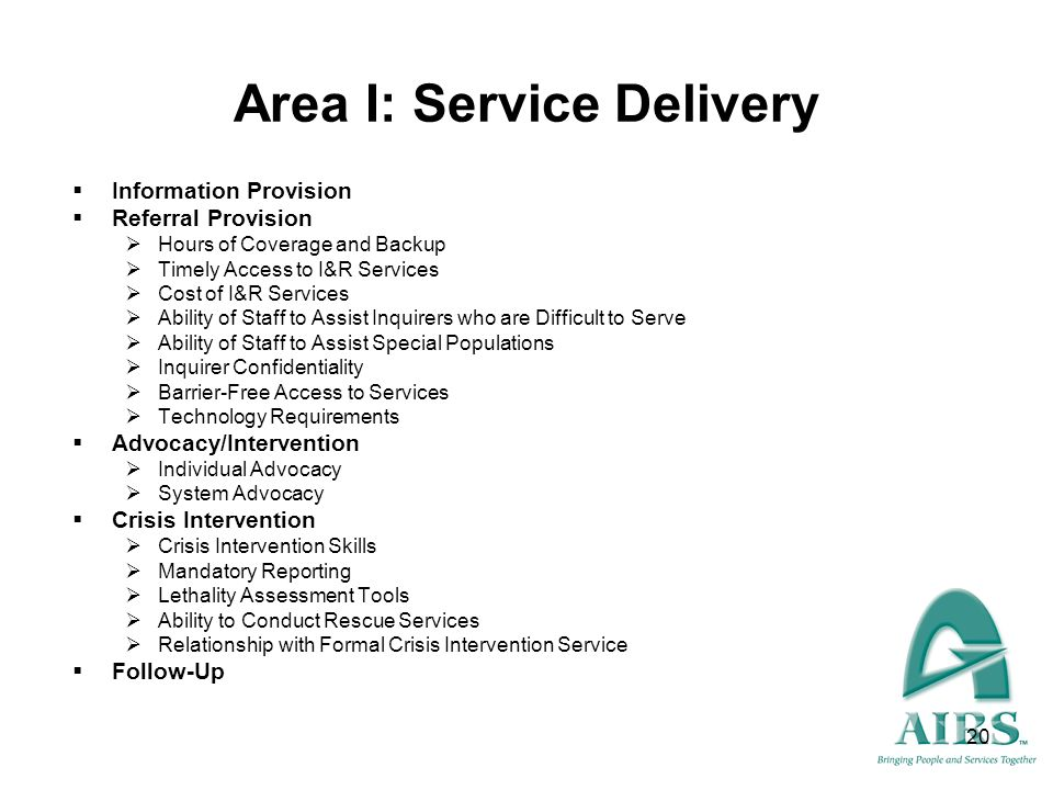 Area I: Service Delivery