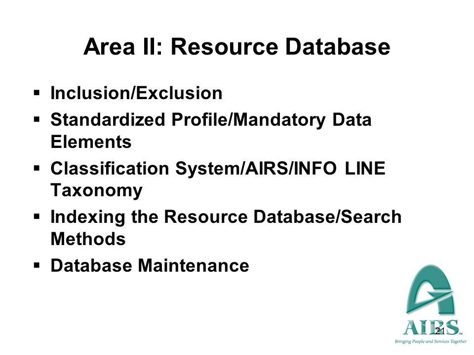 Area II: Resource Database